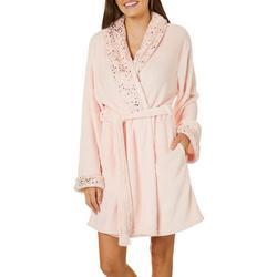 Womens Metallic Super Soft Cozy Shawl Collar Robe