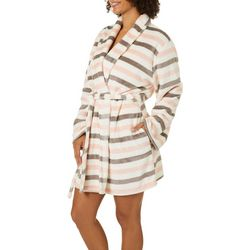 Womens Striped Super Soft Cozy Robe With Mask