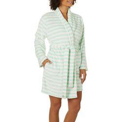 Capelli Womens Stripe Super Soft Cozy Shawl Collar Robe