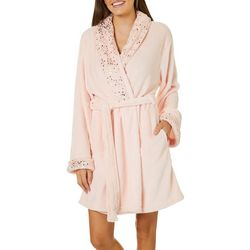 Capelli Womens Metallic Super Soft Cozy Shawl Collar Robe