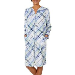 Lissome Lounge Womens Plaid Zip Long Sleeve Duster Robe