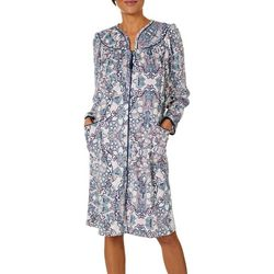 Lissome Lounge Womens Paisley Zip Long Sleeve Duster Robe