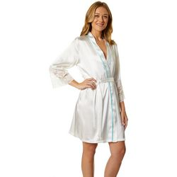 Linea Donatella Womens The Bride Embroidered Satin Wrap Robe