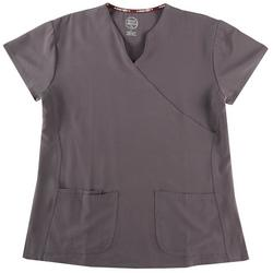 Solid Wrap Style Scrub Top