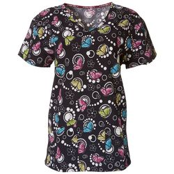 Divine Stretch Butterfly V-Neck Scrub Top