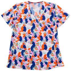 Bold Floral Wrap Style Scrub Top