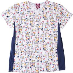 Divine Stretch Colorful Cats V-Neck Scrub Top