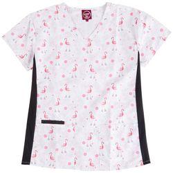 Divine Stretch Flamingo Print V-Neck Scrub Top