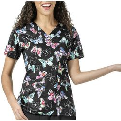 WonderWink Womens Butterfly Print High Performance Scrub Top
