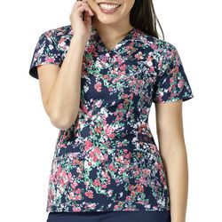 WonderWink Womens Floral Print High Performance Scrub Top