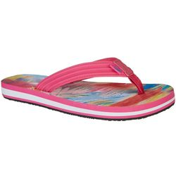 Reel Legends Womens Bali Sweeping Palm Flip Flops