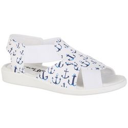 Coral Bay Womens Maggie Multi Anchor Casual Sandals