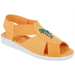 Coral Bay Womens Maggie Embroidered Icon Casual Sandals