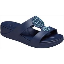 Crocs Womens Monterey Diamante Slip-On Wedge Sandals