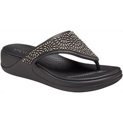 Crocs Womens Monterey Diamante Wedge Flip Flops