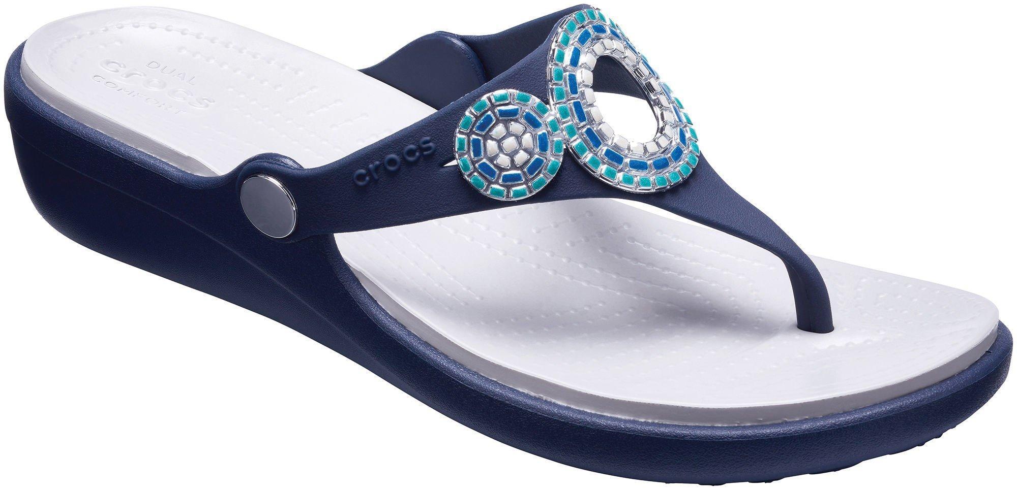 Crocs Womens Sanrah Diamante Wedge Flip