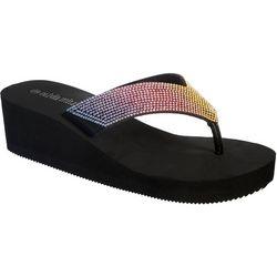 Olivia Miller Womens Ombre Wedge Flip Flops