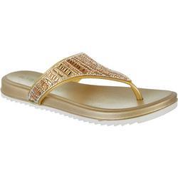 Womens Rhinestone Flip Flops