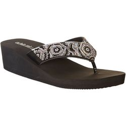 Olivia Miller Womens Platform Jeweled Flip Flops