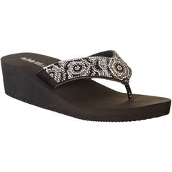 Womens Platform Jeweled Flip Flops