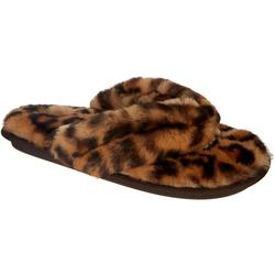 Womens Leopard Faux Fur Thong Slippers