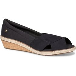 Grasshoppers Womens Garnet Peep Toe Wedge Shoes