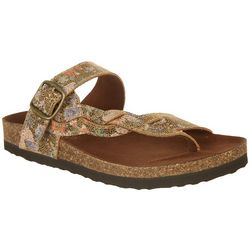 White Mountain Womens Metallic Crawford Sandals