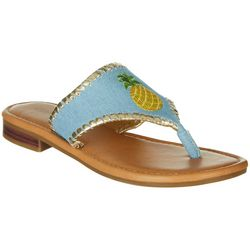 Paradise Shores Womens Kelly Pineapple Flip Flops