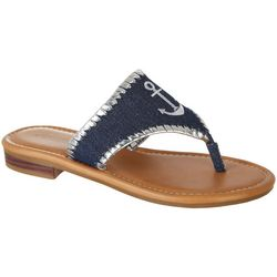 Paradise Shores Womens Kelly Anchor Thong Sandals