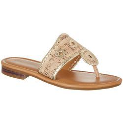 Paradise Shores Womens Kate Two Tone Thong Sandals