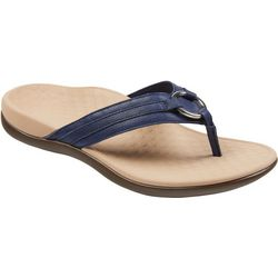 Vionic Womens Aloe Leather Flip Flops