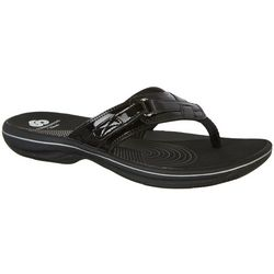 Clarks Womens Cloudsteppers Breeze Sea Patent Flip Flops