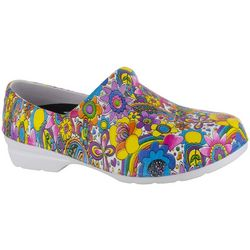 Easy Street Works Womens Kris Floral Work Clogs