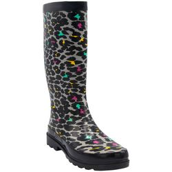 Sugar Womens Raffle Animal Print Rain Boots