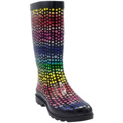 Sugar Womens Raffle Rainbow Dot Rain Boots