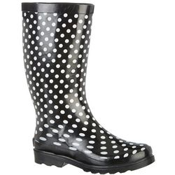 Sugar Womens Raffle Polka Dot Rain Boots