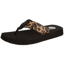 Yellow Box Womens Kinsley Animal Print Flip Flops
