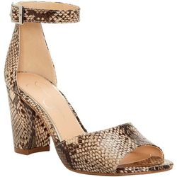 Jessica Simpson Womens Sherron Snake Heeled Sandals