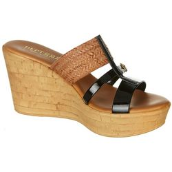Dept 222 Womens Inspire Patent Wedge Sandals
