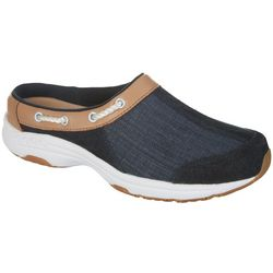 Easy Spirit Womens Travelport Leather Trim Athletic Mules