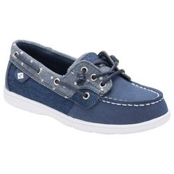 Sperry Girls Shorerider 3 Eye Denim Blue Boat Shoes