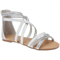 Olivia Miller Girls Crisscross Staps Metallic Sandals