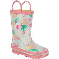 Laura Ashley Girls Pink Flamingo & Pineapple Rain Boots