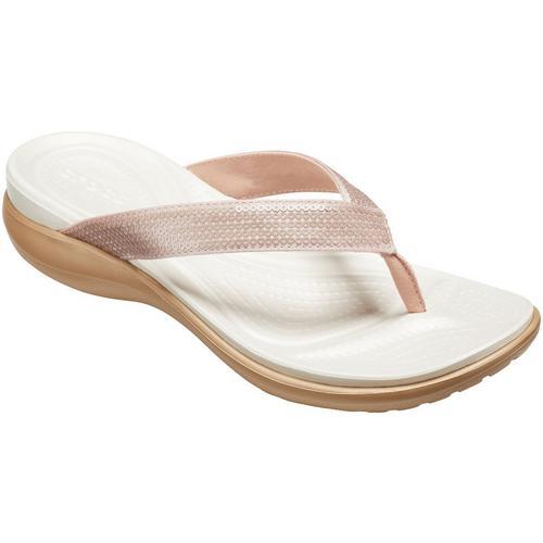a4affee69771d Crocs Womens Capri V Sequin Flip Flops