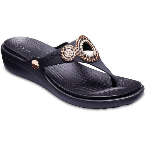 a8f5d4ba5f16a Crocs Womens Sanrah Diamante Wedge Sandals