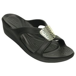 Crocs Womens Sanrah Embellished Wedge Sandals