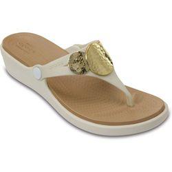 Crocs Womens Sanrah E Wedge Thong Sandals
