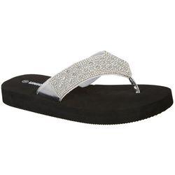 Unionbay Womens Trindade Silver Tone Flip Flops