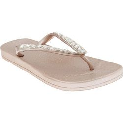 Capelli Womens Clear Rhinestone Thong Jelly Flip Flops