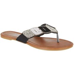 Capelli Womens Colorblock Bead Flip Flops